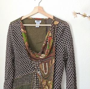 MONROE and MAIN Patchwork Top Cowl Long Sleeve L